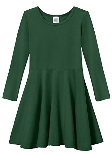 City Threads Little Girls' Super Soft Cotton Long Sleeve Twirly Skater Party Dress, Forest Green, 6 -