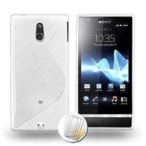 """ORIGINAL MUZZANO White """"Le S"""" Premium Flexible Shell for SONY XPERIA P + 3 """"UltraClear"""" Screen Protectors for SONY XPERIA P"""