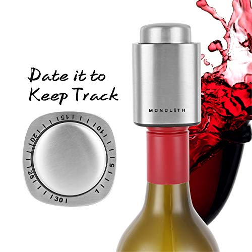 (Monolith Wine and Beverage Bottle Vacuum Stopper With Time Scale Record, Stainless Steel Bar Tools Wine Plug)
