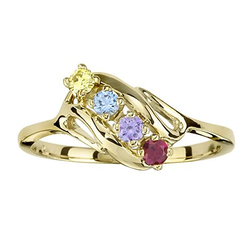 Family Mothers Ring 2 3 4 or 5 Birthstones 10k White or Yellow or Rose Gold (Two Stone Gold)