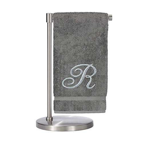 (Monogrammed Bath Towel, Personalized Gift, 27 x 54 inches - Set of 2 - Silver Script Embroidered Towel - 100% Turkish Cotton- Soft Terry Finish - for Bathroom or Spa - Script R Gray)
