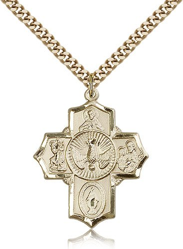Gold Plated 5-Way Pendant Including 24 Inch Necklace 5-Way Pendants