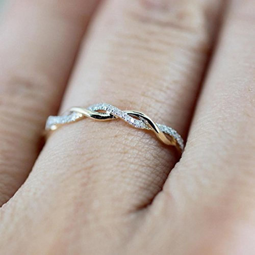 Engraved Toggle (Sinwo Women Twisted Shape Diamond engagement Ring stacking Matching Band anniversary Ring Gift (9, Rose Gold))