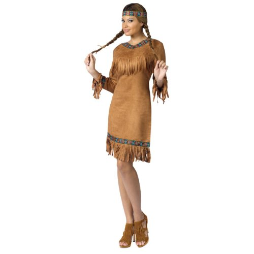 Indian Halloween Costumes Women (FunWorld Native American Adult Costume, Brown, Small/Medium (2-8))