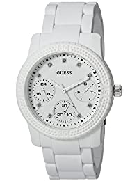 GUESS Women's Quartz Rubber and Silicone Casual Watch, Color:White