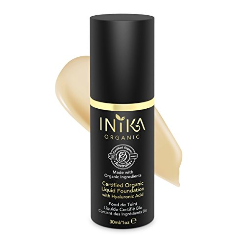 INIKA Certified Organic Liquid Foundation with Hyaluronic Acid All Natural Make-up Base, Flawless Long-Lasting Coverage, Lightweight, Hypoallergenic 30 ml (1oz) (Beige) ()
