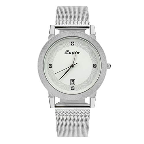 NXDA Classic wrist watch quartz movement leisure calendar watch simple and easy to read watch (White)