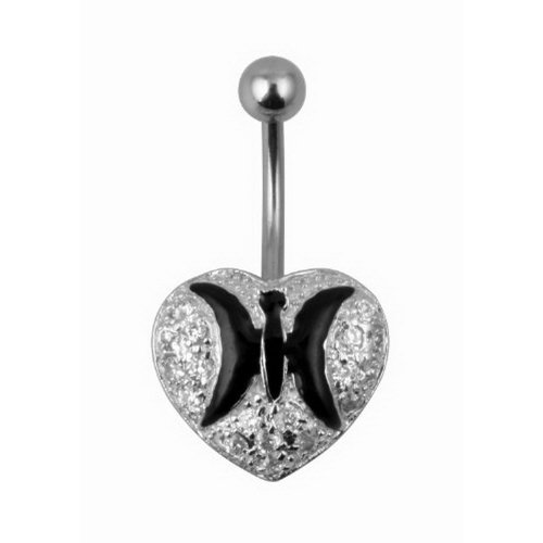 JewelryVolt Sterling Silver Belly Button Heart Ring With CZ Stone