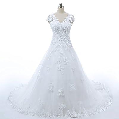 RohmBridal Womens V-neckline A-line Vintage Lace Bridal Wedding Dress
