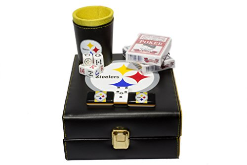 Pittsburgh Steelers Deluxe Set 3 Games: Dominó, Dice Cup, 2 Poker Cards by ARSEL