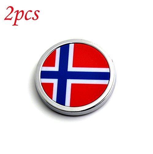 2 pcs Norway Flag Round Metal Car Emblem Badge Sticker (Norway Pc)