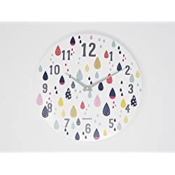 "Modern Art Inspired Design Non-Ticking Silent Sweep 12"" Open Face Wall Clock with Gloss White Finished Frame (Kids Art Colorful Droplets)"