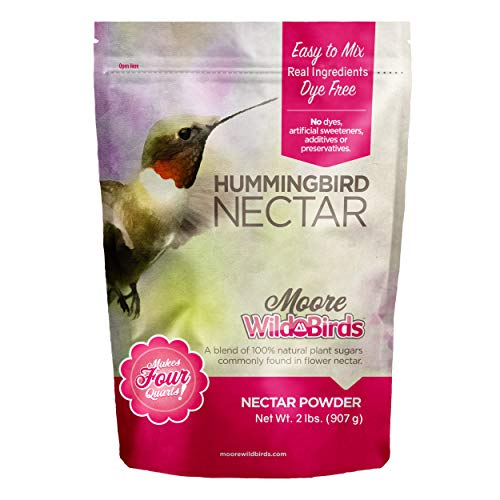 Moore Wild Birds Hummingbird Nectar Easy Mix All Natural Plant Based Food Powder (Makes 128 Ounces / 4 Quarts) (Nectar The Hummingbird)