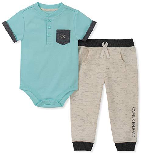 Calvin Klein Baby Boys 2 Pieces Bodysuit Pants Set, Mint/Oatmeal, 6-9 Months