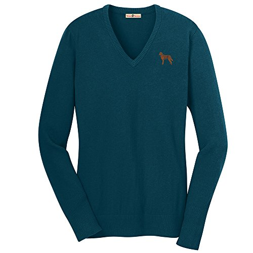 YourBreed Clothing Company Chesapeake Bay Retriever Embroidered Ladies V-Neck (Retriever Embroidered Sweatshirt)