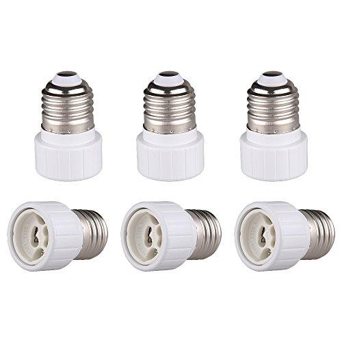 Onite E26 E27 Edison Screw to GU10 Bayonet Base Adapter Lamp Socket (6-Pack)