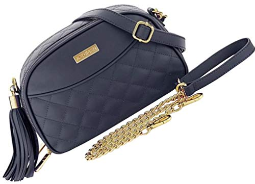 Diamond Quilted Handbag - JOY & IMAN Diamond Quilted Genuine Leather Crossbody with RFID - Navy