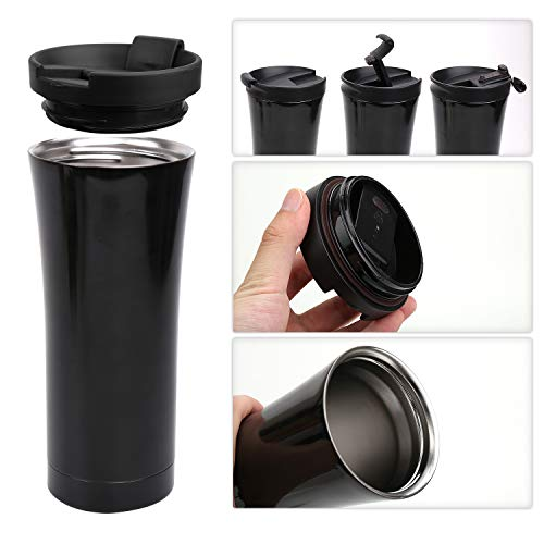 Rommeka Insulated Coffee Mug, 18/8 Stainless Steel Water Bottle Double Wall Vacuum Reusable Travel Coffee Cups with Lids Spill Proof, 16oz