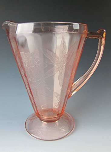 Glass Pink FLORAL 32 oz. Footed Cone Pitcher EXCELLENT (Jeannette Depression Glass)