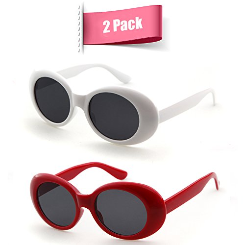Bold Retro Oval Mod Thick Frame Sunglasses Clout Goggles with Round Lens (White&Red, - Red Sunglasses Clear All Round