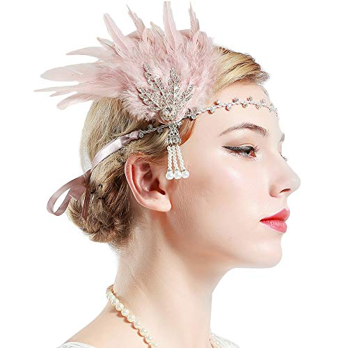 BABEYOND Art Deco 1920's Flapper Great Gatsby Inspired Leaf Medallion Pearl Headband Black Feather (Silver and Pink Feather)