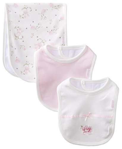 Little Me Baby Girls' 3 Piece Bib and Burp Set, Rose, White Floral, One Size