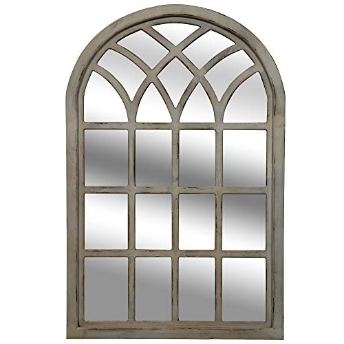 Everly Hart Collection Farmhouse Cathedral Windowpane Wall Distressed Gray Mirrors,