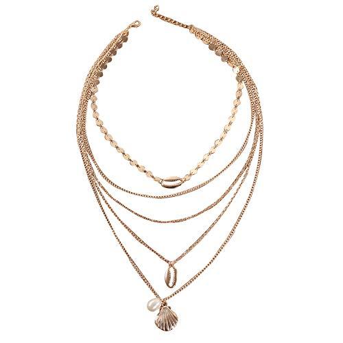 lightclub Boho Beach Women Multi-Layer Faux Pearl Shell Pendant Paillette Chain Necklace - Golden Elegant Necklace for Women