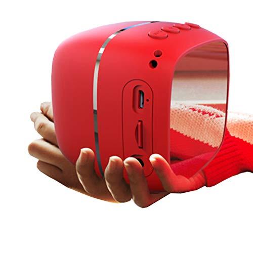 HWUKONG Alarm Clock FM Radio, Mirror Mini Alarm Clock Bluetooth Speaker Multi-Function Gift Type, Bedroom Wireless Portable Bedside Speaker LED Alarm Clock