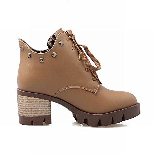 Carolbar Women's Western Rivets Mid Heel Lace Up Platform Short Boots apricot 8EW2S