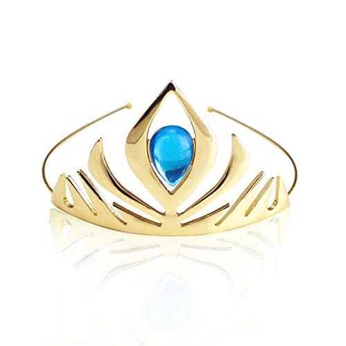 Jaasie Princess Crown Tiara and Wand Set Silver Heart Jewel Princess Accessories (Gold with Tiara) ()