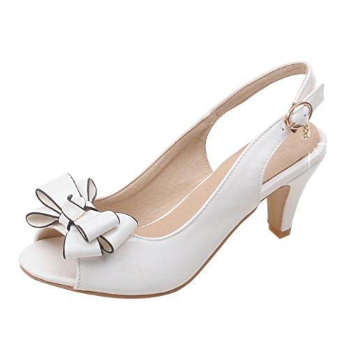 mit Pumps Riemchen Sandalen Hochzeit Kitten Slingback Damen Heel Braut YE Schleife Sandals Abend Peep Schuhe Toe 08YpPwx