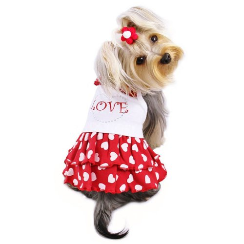 Adorable Dog Sundress with Sparkling Rhinestones and Hearts Sizes: Small, My Pet Supplies