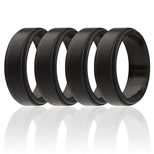 - ROQ Silicone Wedding Ring for Men, 4 Pack Silicone Rubber Band Step Edge - Black - Size 12