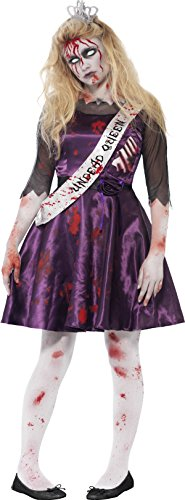 [Smiffy's Teen Girls' Zombie Prom Queen Costume, Dress with Latex Rib Insert, 3D Felt Crown and Sash, Halloween, Size XS, Ages 14+,] (Zombie Queen Costumes)