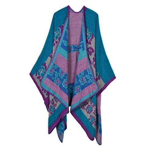 Bufanda Mujer Engrosamiento Del Enrejado Caliente Grueso Del Mantón Purple