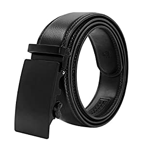 HIPPIH Men's Belt Genuine Leather Ratchet Belt for Men Black Dress with Automatic Buckle Gift Box 1 3/8 Wide