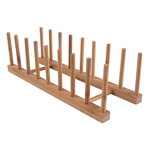 Z Zicome 8-Slots Bamboo Wooden Dish Rack Plate Rack Stand Pot Lid Holder Kitchen Cabinet Organizer ()