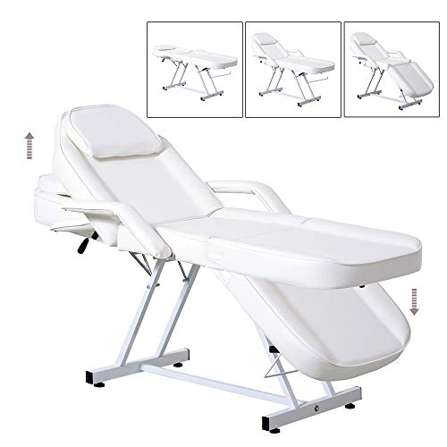 Spa Beds Adjustable Table Facial Massage Chair Spa Salon Tattoo Beauty Personal Care Equipment White Black (White)