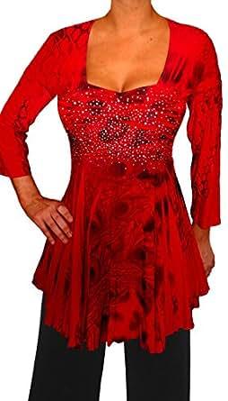 Funfash CF09 Plus Size Women Slimming Rhinestones A Line Top Blouse Shirt USA