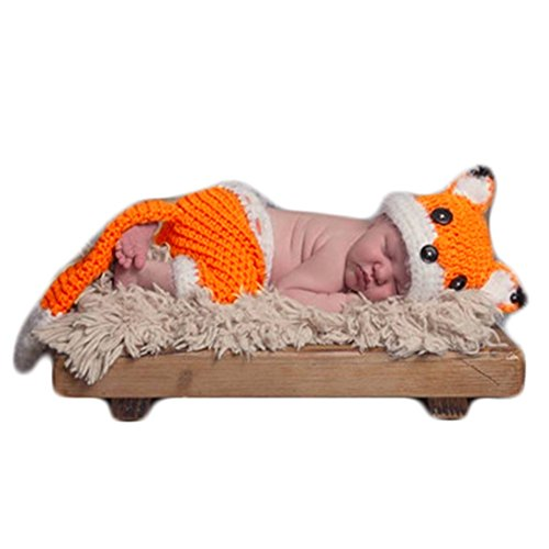 Zeroest Baby Photography Props Boy Girl Photo Shoot Outfits Newborn Crochet Costume Infant Knitted Clothes Fox Hat Pants