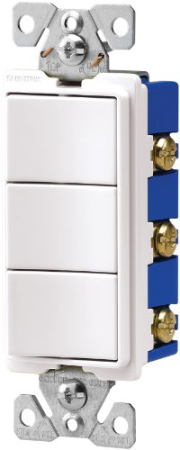 Eaton 7729W-SP 15-Amp 120-Volt Decorator Heavy Duty Grade Three Single-Pole Combination Switches, White