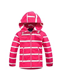 Lau's Boys Girls Windbreaker Fleece Lined Light Waterproof Jacket with Hood
