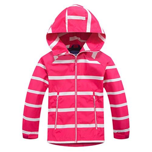 TLAENSON Boys Girls Windbreaker Fleece Lined Light Waterproof Jacket Rose Red 4-5T