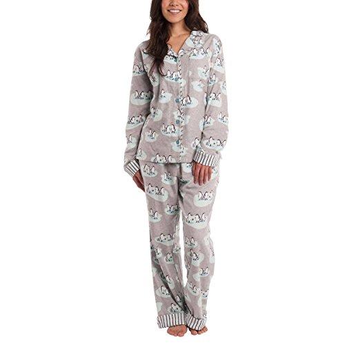 munki munki Ladies' Flannel PJ Set (Gray, Small)