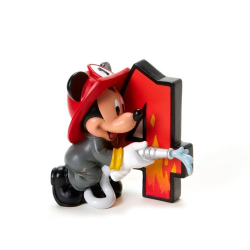 Disney Showcase Collection Mickey Mouse Birthday Figurine, Age 4, 3-Inch Mickey Mouse Firefighter