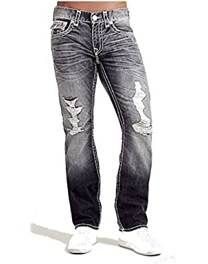 Men's Straight Leg Super T Distress Jeans in Light Dawn