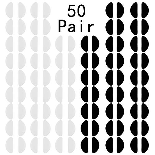 Goddess Aalto 50 Pairs Silicone Eyeglasses Nose Pads, D Shape Non Slip Adhesive Nose Cushions for Kids Adults Plastic Frames,Sunglasses,Reading Glasses(Transparent and Black, ()