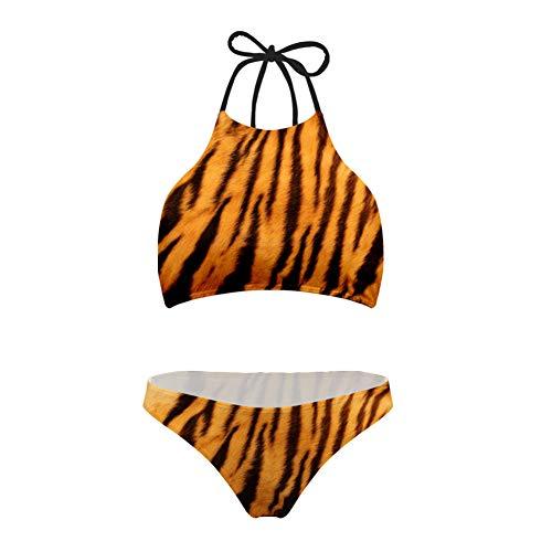 (Women's Tiger Pattern Bandeau Bikini Two Piece Halter Tankini High Cut Swimwear)