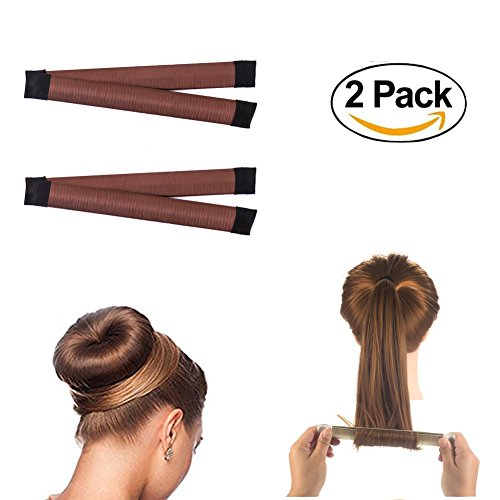 ForUBeauty 2 Pack Hair Styling Disk Donut Bun Maker Foam French Twist Hairstyle Clip Fashion Hair Tool DIY Hair Styling Tool Brown